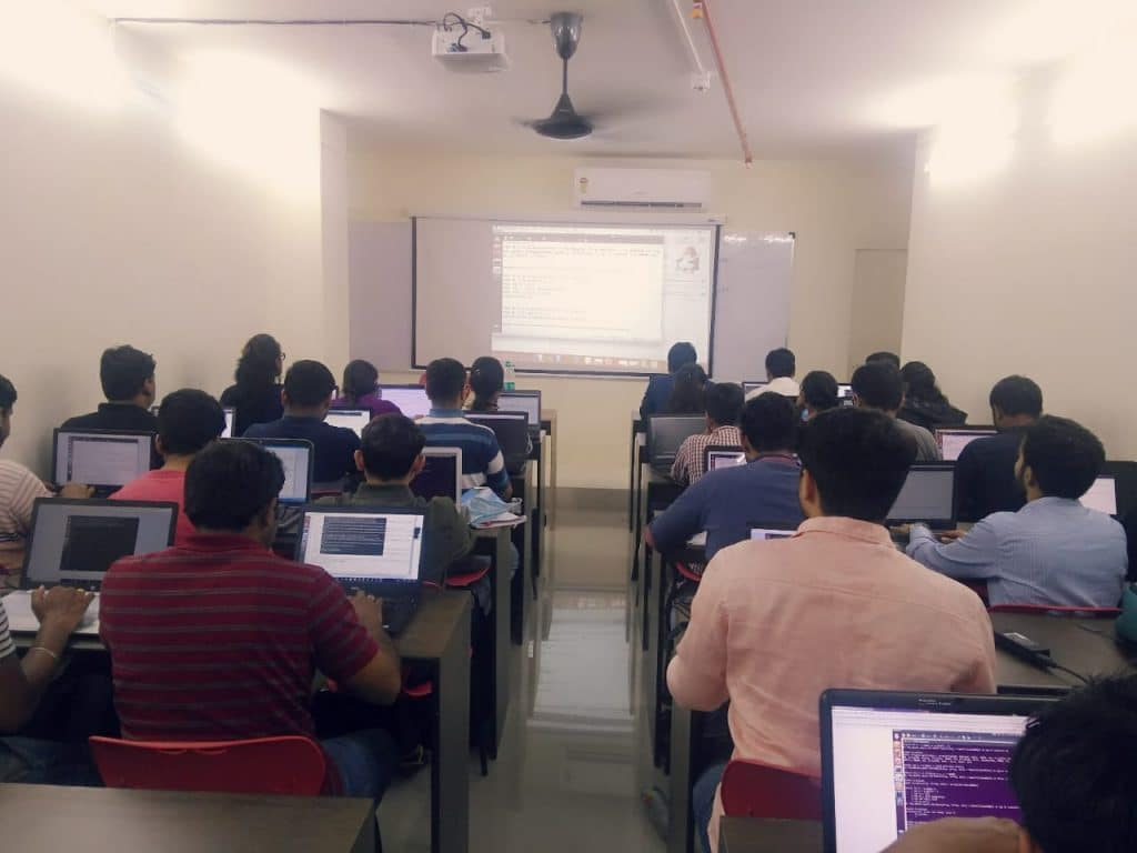 Students doing assignments in Vaibhav Sir Data Science class